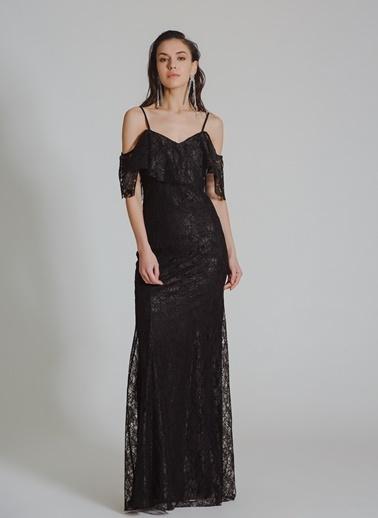 People By Fabrika Dantelli Uzun Abiye Elbise Siyah